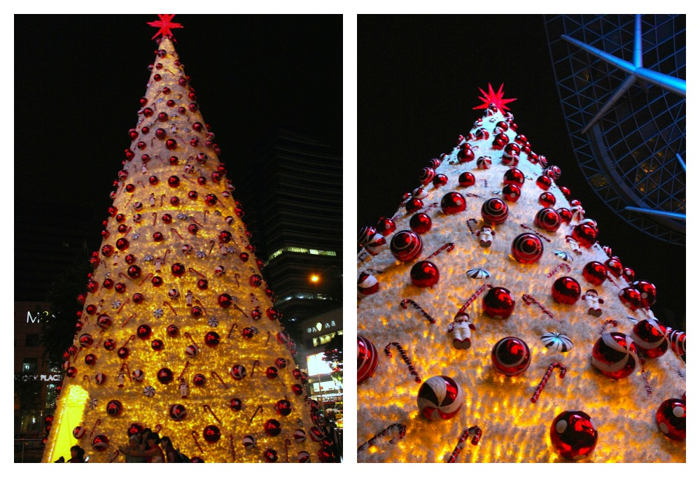 Giant white christmas tree in front of ION Orchard | curlytraveller.com