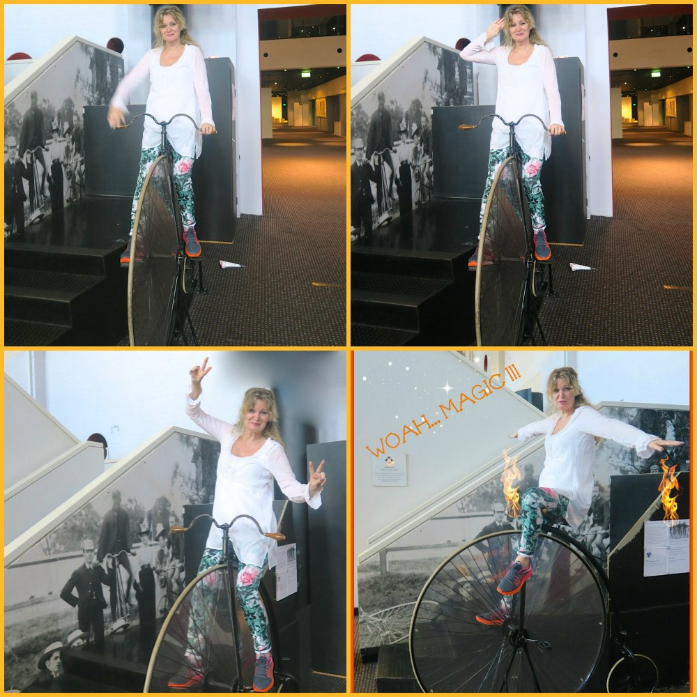 Woman on historic bike in Powerhouse Museum Sydney|curytraveller.com
