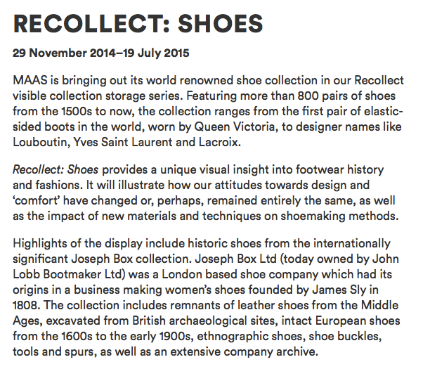 Exhibition ReCollect Shoes at MAAS Sydney |curlytraveller.com