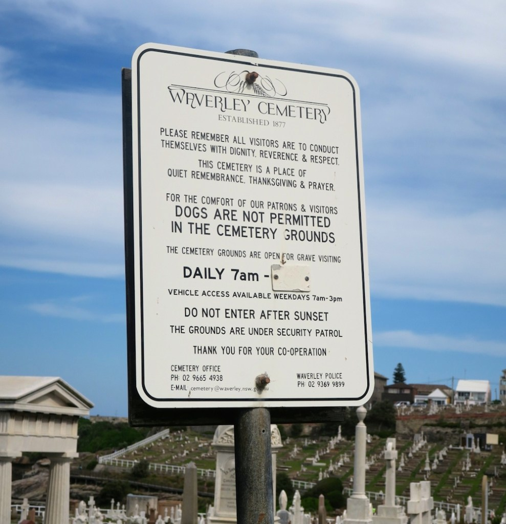 Rules and regulations at Waverley Cemetery Sydney|curlytraveller.com