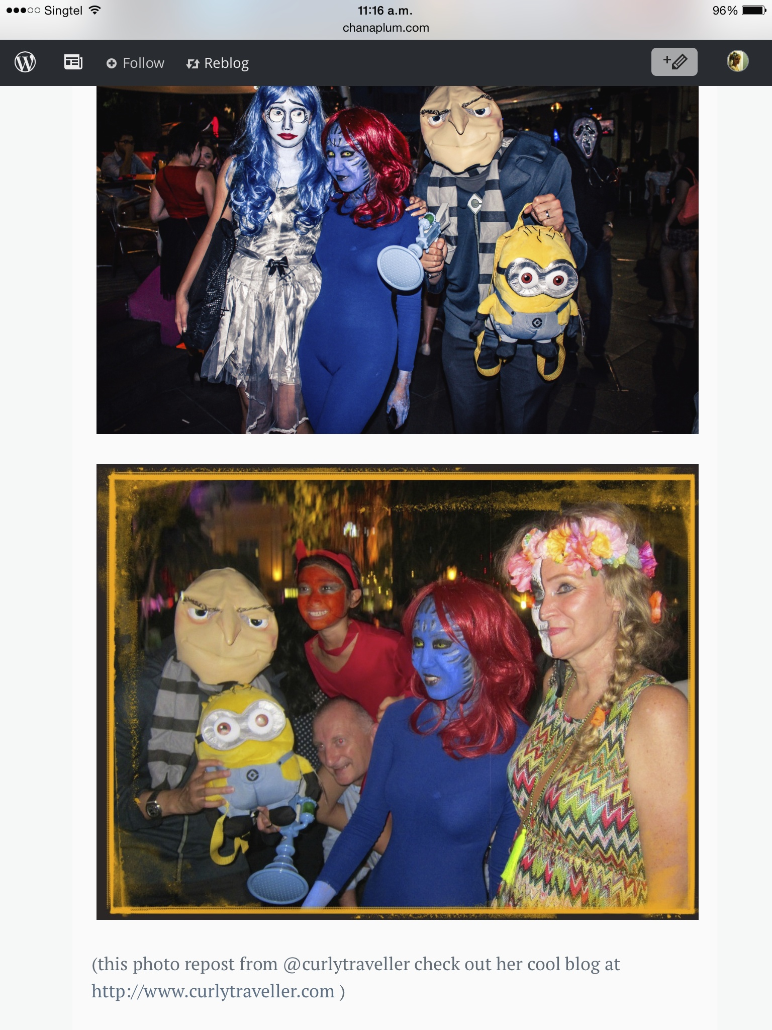 People in Halloween costumes at Clarke Quay Singapore 2014 |curlytraveller.com