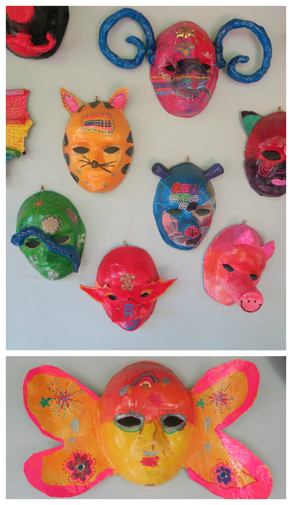 colorfoul masks made by children for chinese new year |curlytraveller.com