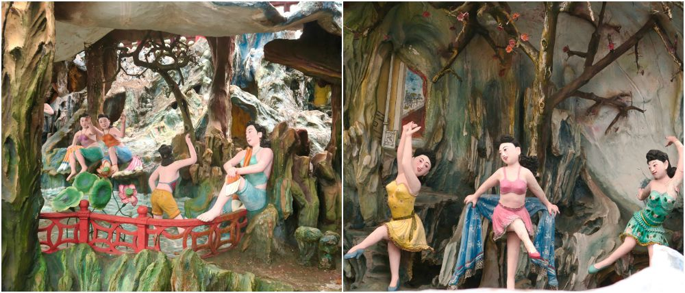 Bathing and dancing women at Haw Par Villa Singapore |curlytraveller.com