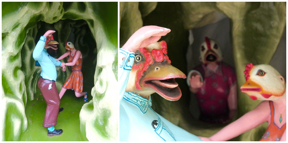 A duck and chickens struggling with temptation at Haw Par villa |curlytraveller.com