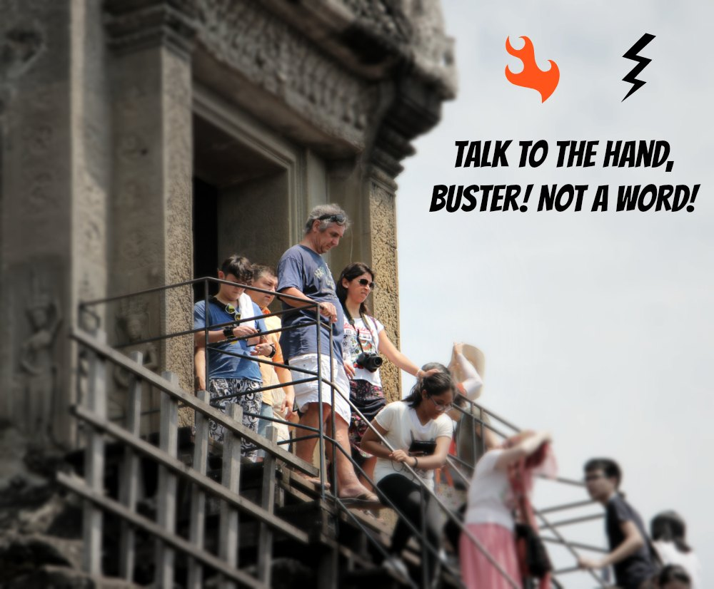 People coming down from Angkor Wat temple |curlytraveller.com