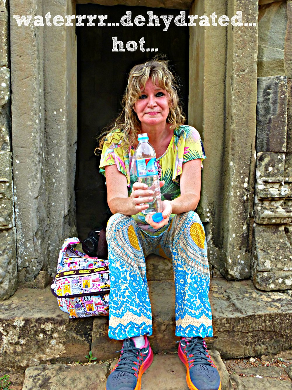 woman in ugly pants at Cambodian temple |curlytraveller.com