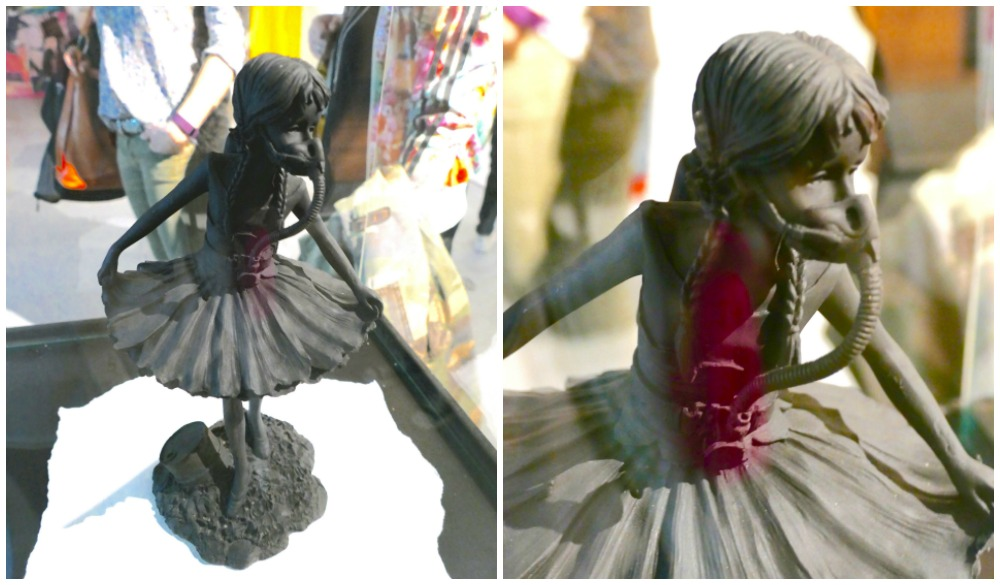 Degas ballerina with a gas mask by Banksy  curlytraveller.com