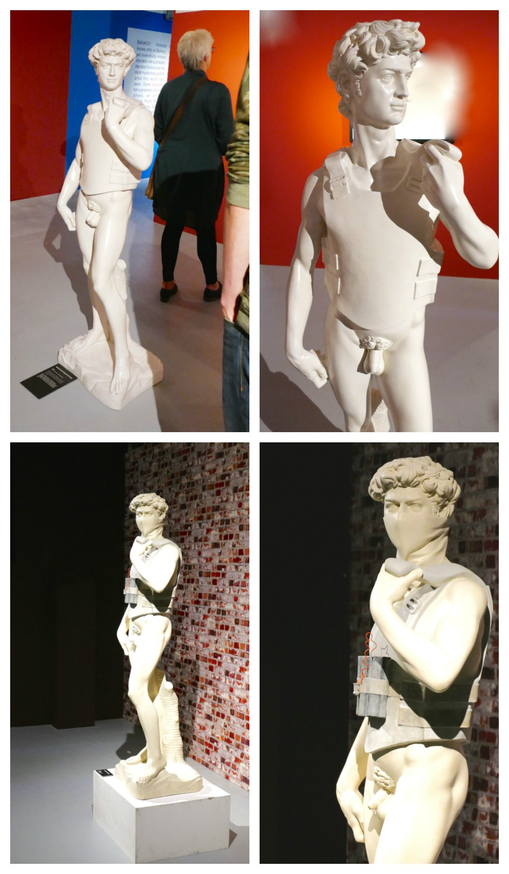 Michelangelo's David bullet proof and with bomb by Banksy  curlytraveller.com