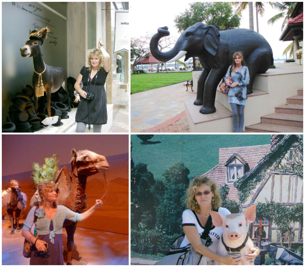 Woman posing with animals sculptures |curlytraveller.com