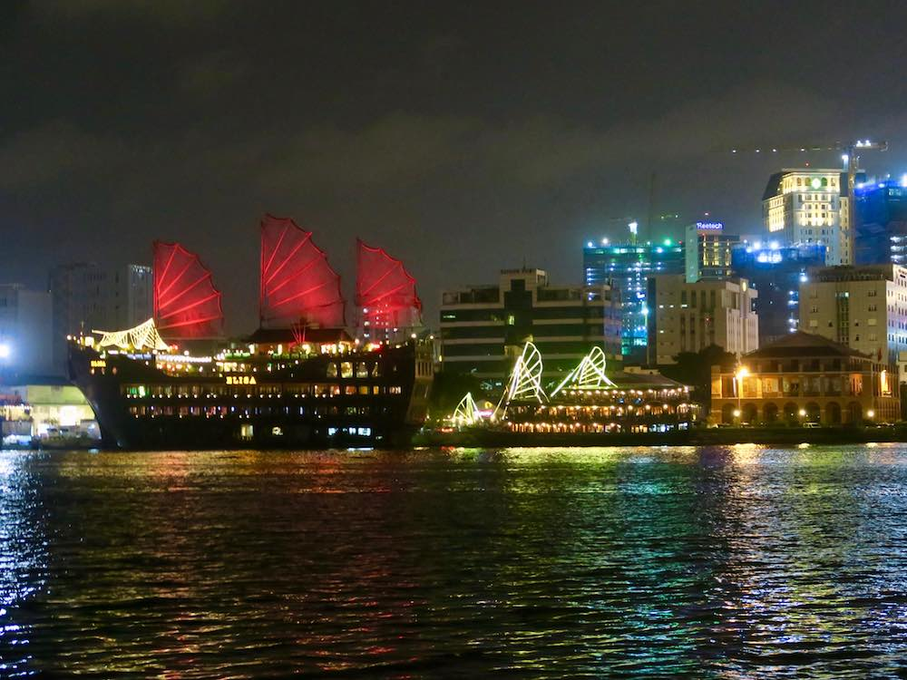 Sails at Saigon's skyline at night |curlytraveller.com