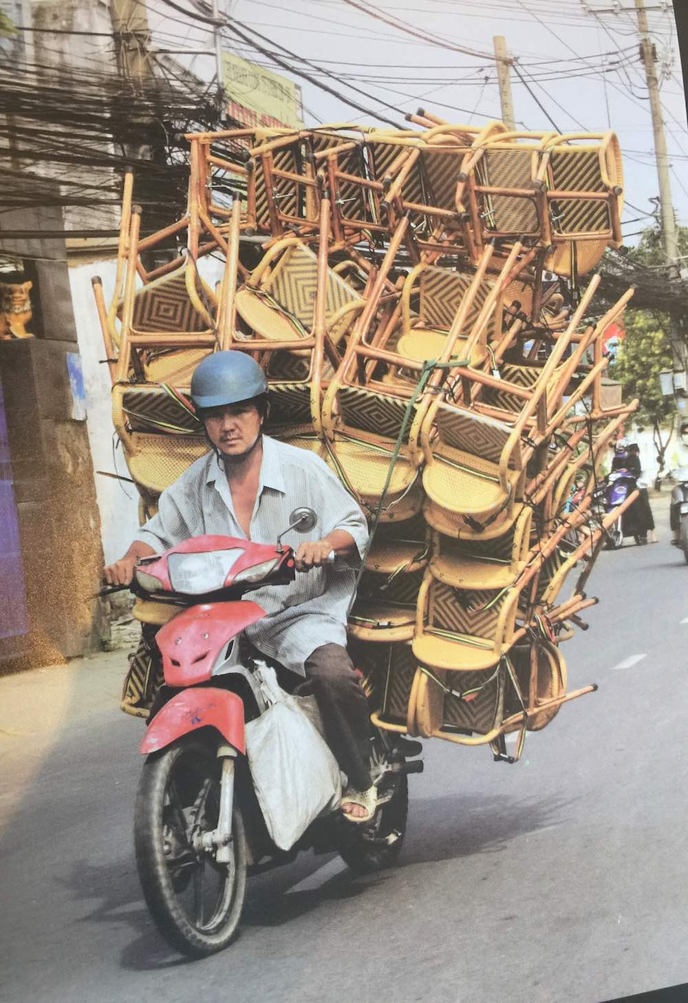 Bike loaded with lots of chairs |curlytraveller.com