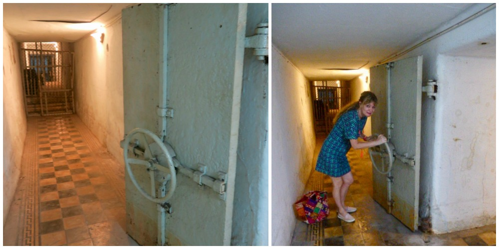 Woman opening shelter door in Ho Chi Minh City Museum |curlytraveller.com