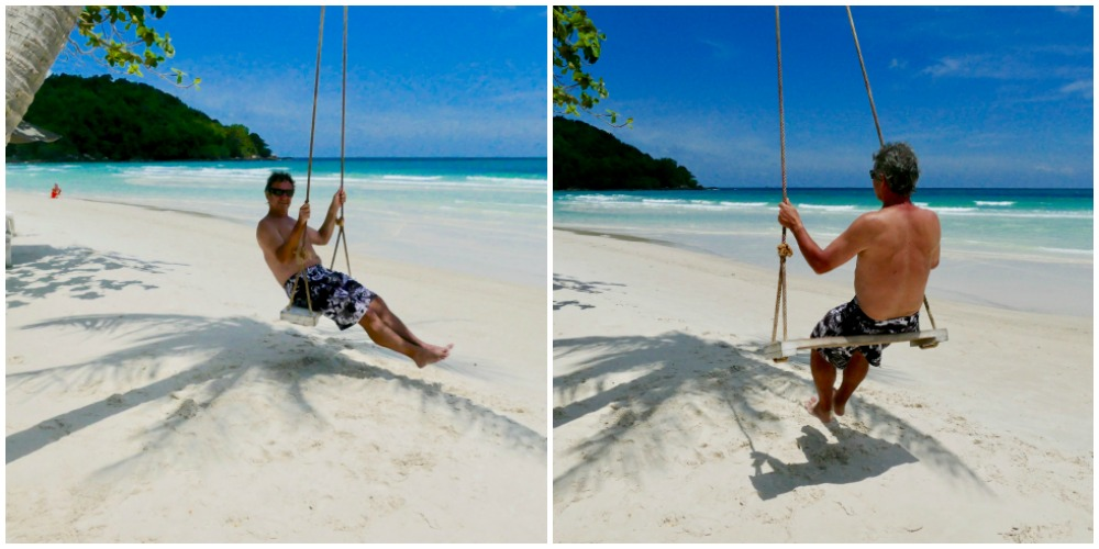 Man on swing on Sao Beach |curlytraveller.com