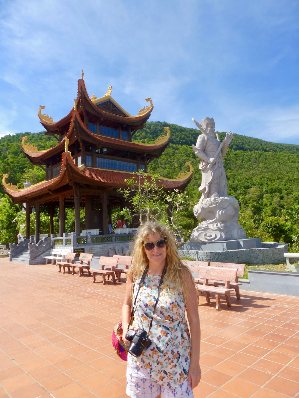 Woman in front of Ho Quoc Pagoda Pho Quoc |curlytraveller.com