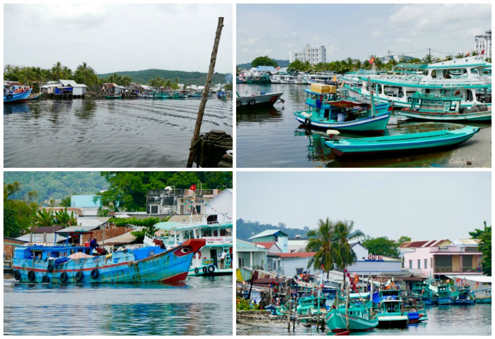 Turquoise fishing boats in Duong Dong port |curlytraveller.com