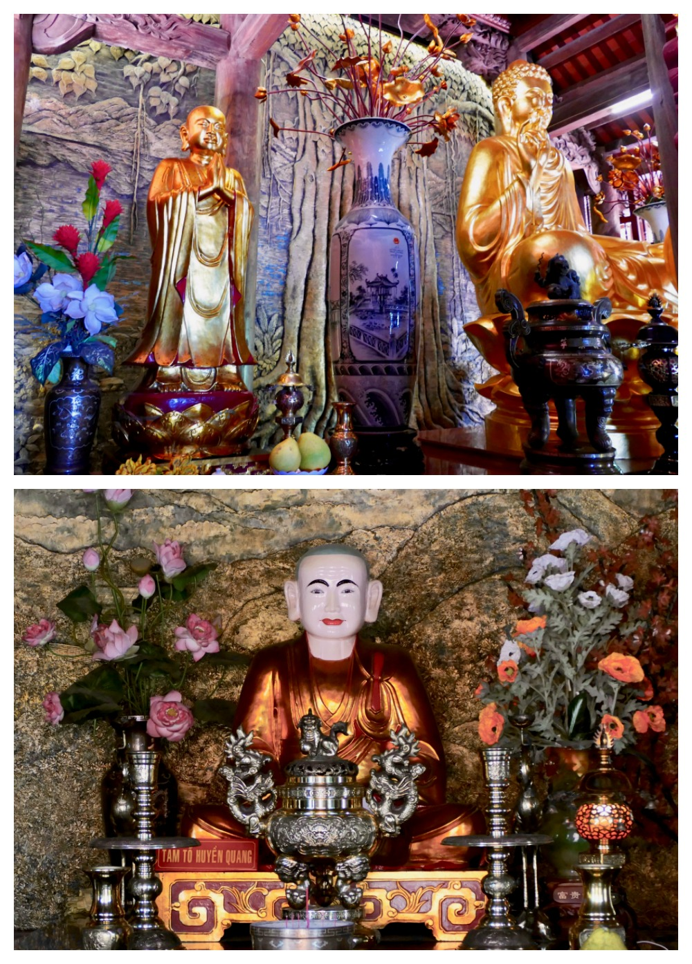Several buddha's at Ho Quoc Pagoda Pho Quoc |curlytraveller.com