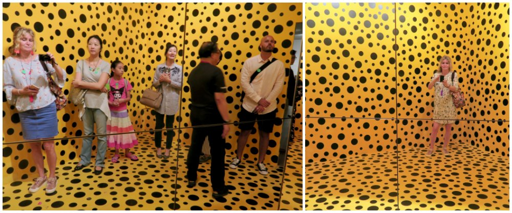 Full room and empty room at Kusama exhibit |curlytraveller.com