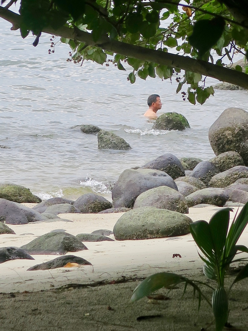 Man in the sea at Punggol Beach |curlytraveller.com