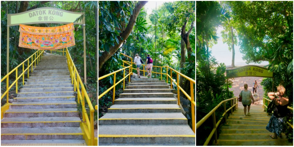 Women taking the stairs to a temple on Kusu Island |curlytraveller.com