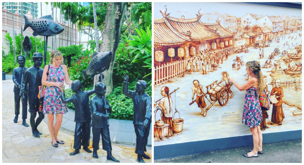Woman interacting with street art in Singapore |curlytraveller.com