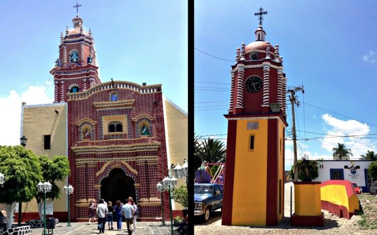 Piękny kościół San Francisco Acatepec , który jest przepełniony wewnątrz dekoracjami ze złota
