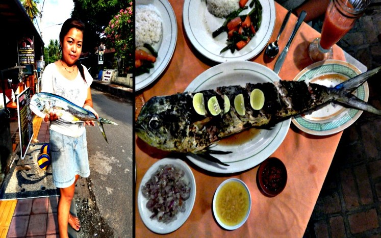 Fresh fish in Bali means that you can see her caught and prepared on the grill after 15 minutes of placing an order at the bar