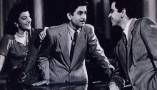 Nargis, Raj Kapoor, and Dilip Kumar, in scene from Andaz - 1946