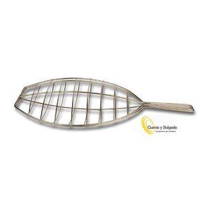 Parrilla de pescado acero inox para rodaballo 45x33 cm.