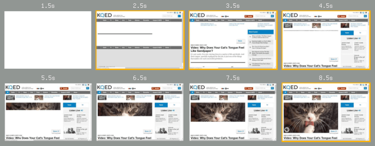 WebpageTest filmstrip of KQED page loading