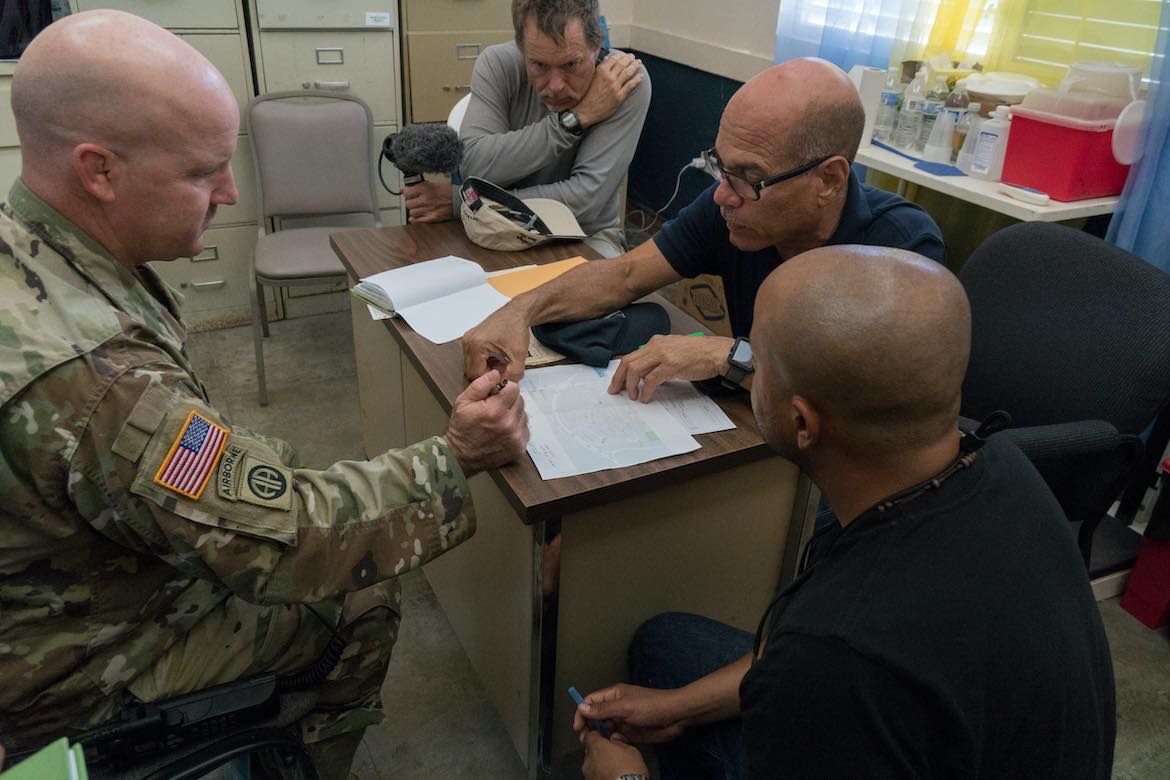 An American Homefront reporter working in Puerto Rico with troops from Fort Bragg