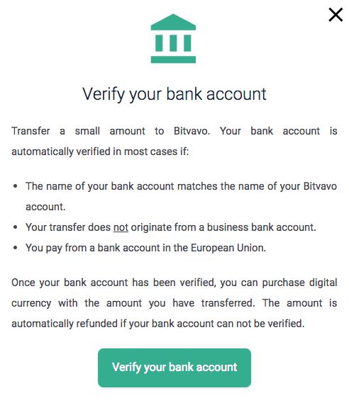 Bitvavo bank account