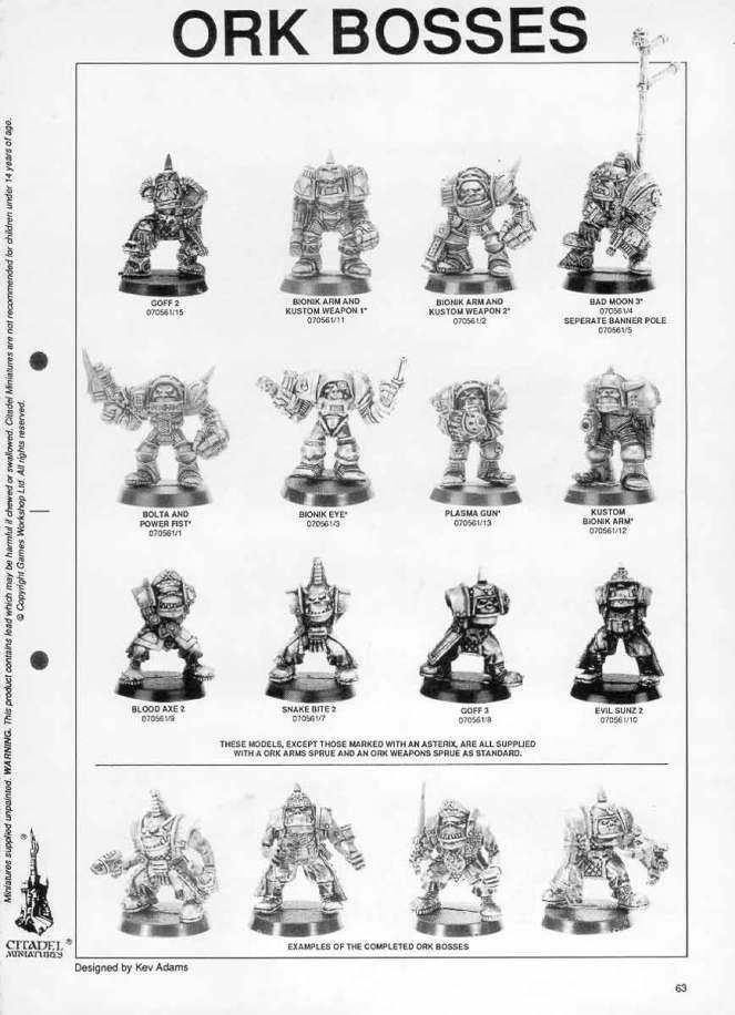 ork bosses kev adams 1991 citadel miniatures catalogue catalog bionik arm orktober gw games workshop