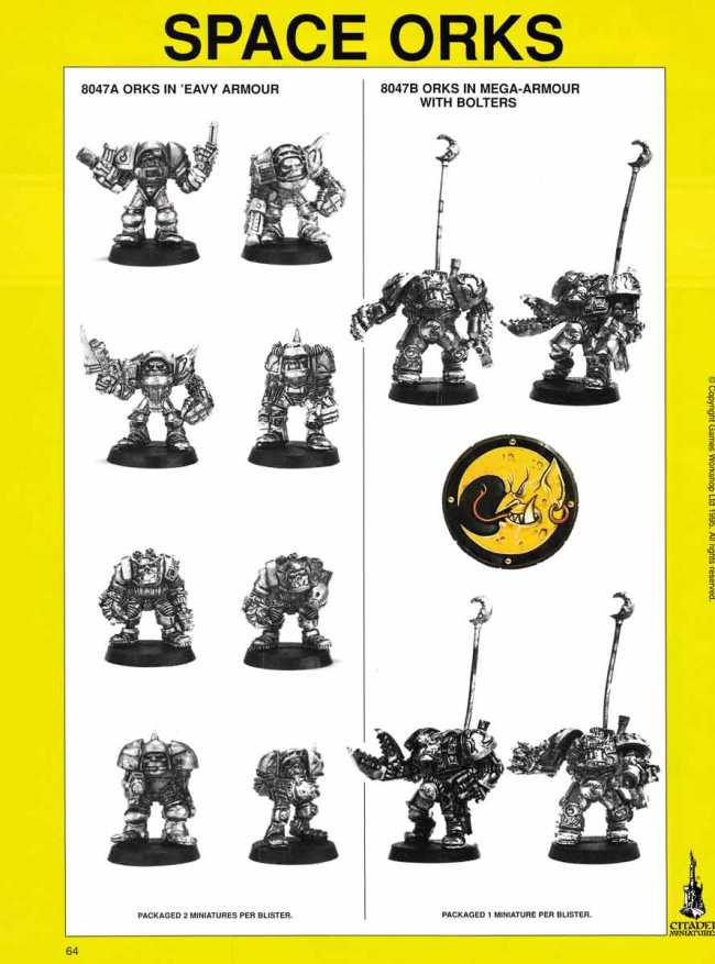 space orks 1996 warhammer 40,000 catalogue orks in eavy armour 8047a 8047b gw games workshop citadel
