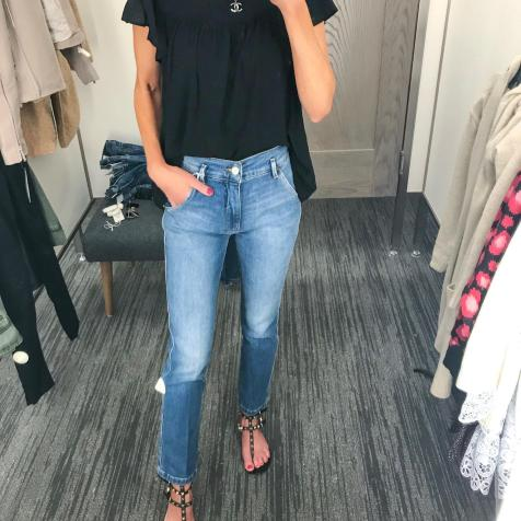 Frame denim-love the slanted pocket! And this flutter sleeve tee is just so fun!