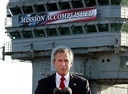 Bush Mission Accomplished on aircraft carrier