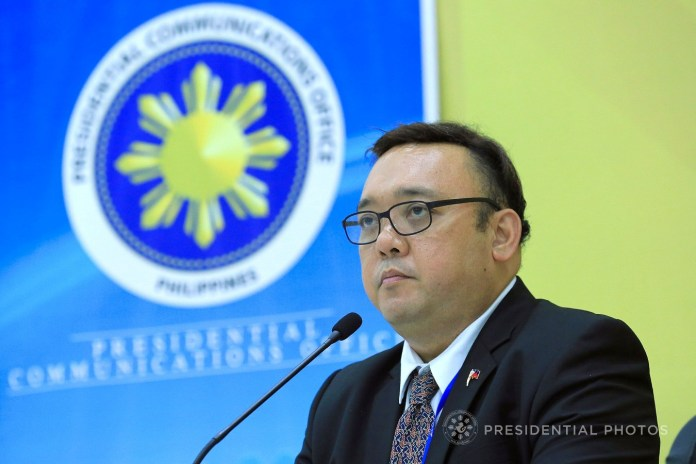 Presidential Spokesperson Harry Roque, in a press conference at the International Media Center (IMC) on the final day of President Rodrigo Roa Duterte's participation in the 25th Asia-Pacific Economic Cooperation (APEC) Economic Leaders' Meeting (AELM) in Da Nang City, Vietnam on November 11, 2017, reveals the reason why the President opted not to attend the APEC Gala Night. Roque said the President had to attend to a more important matter concerning four Vietnamese sailors who were rescued from the Abu Sayyaf Group captors. Roque, however, reported that one of the four rescued sailors was already found dead. ALBERT ALCAIN/PRESIDENTIAL PHOTO