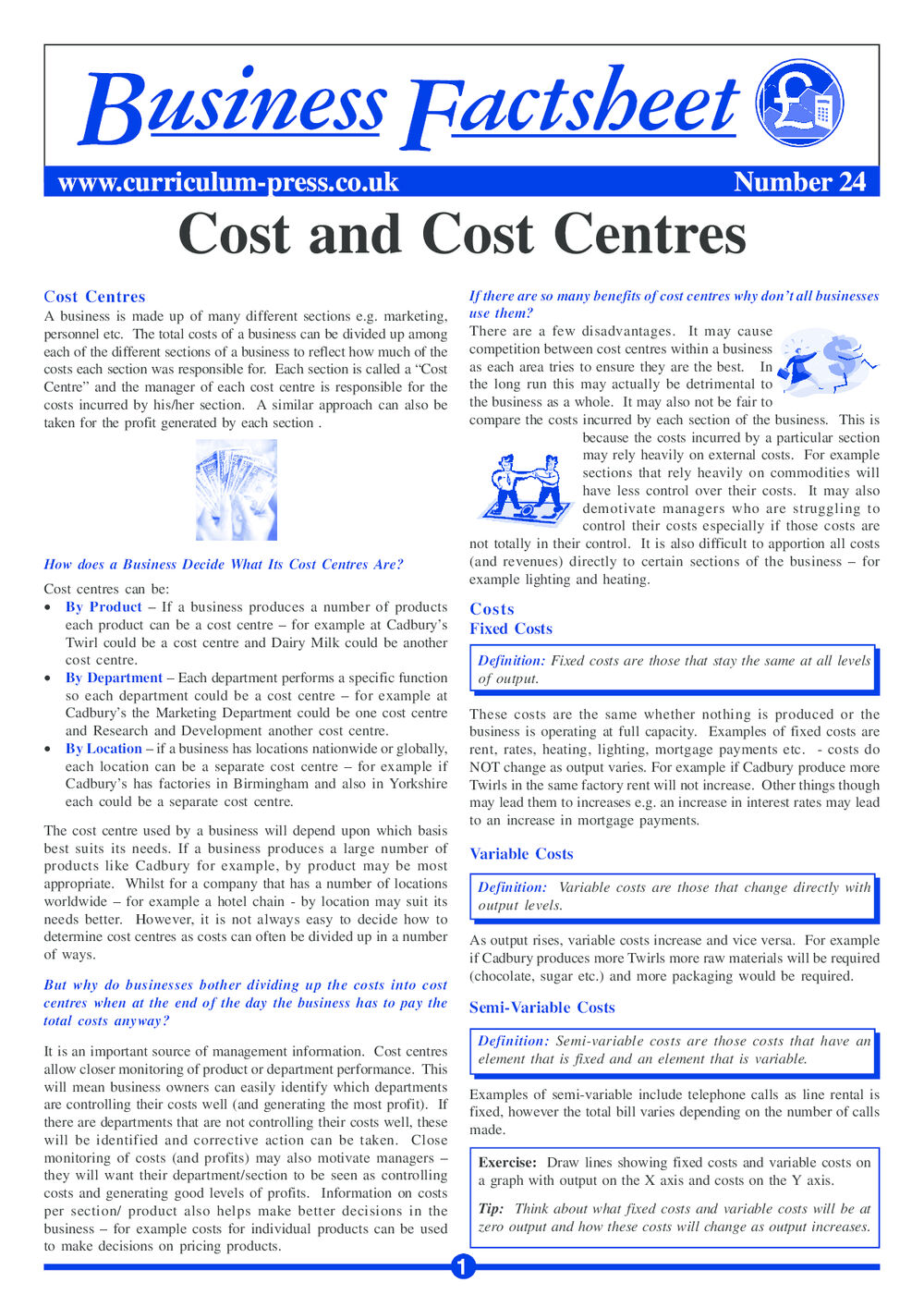 Cost and Cost Centres - Curriculum Press