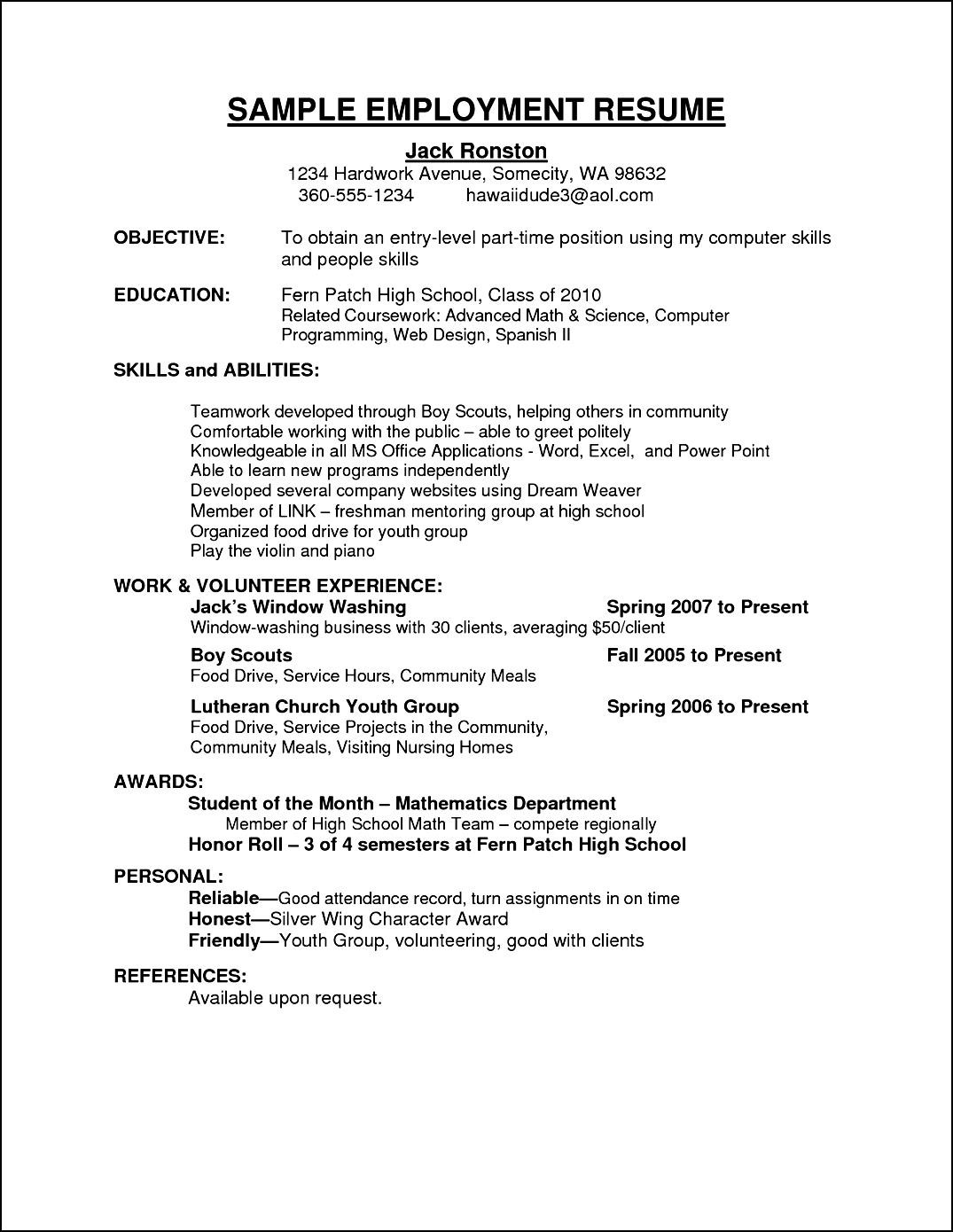 Format For A Resume For A Job Sample Curriculum Vitae For Employment Free Samples