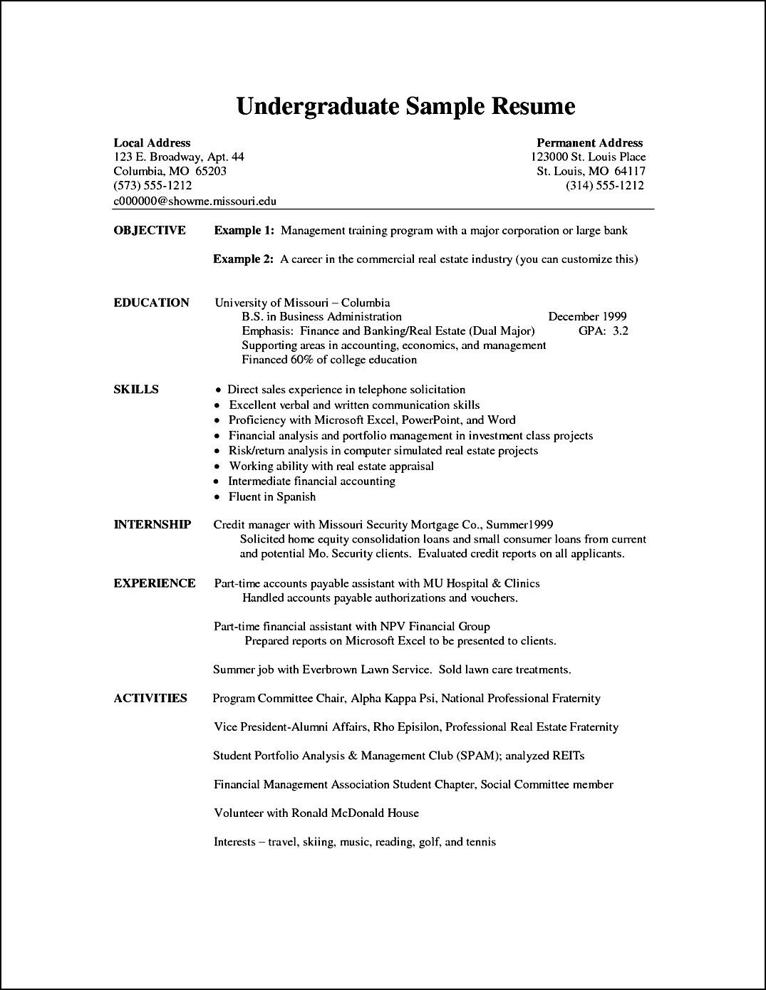 Undergraduate Student Resume Sample Undergraduate Curriculum Vitae Example Free Samples