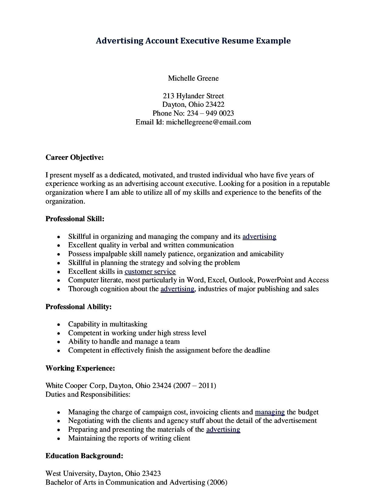 Resume Format For Accounts Manager Account Executive Resume Format Free Samples Examples