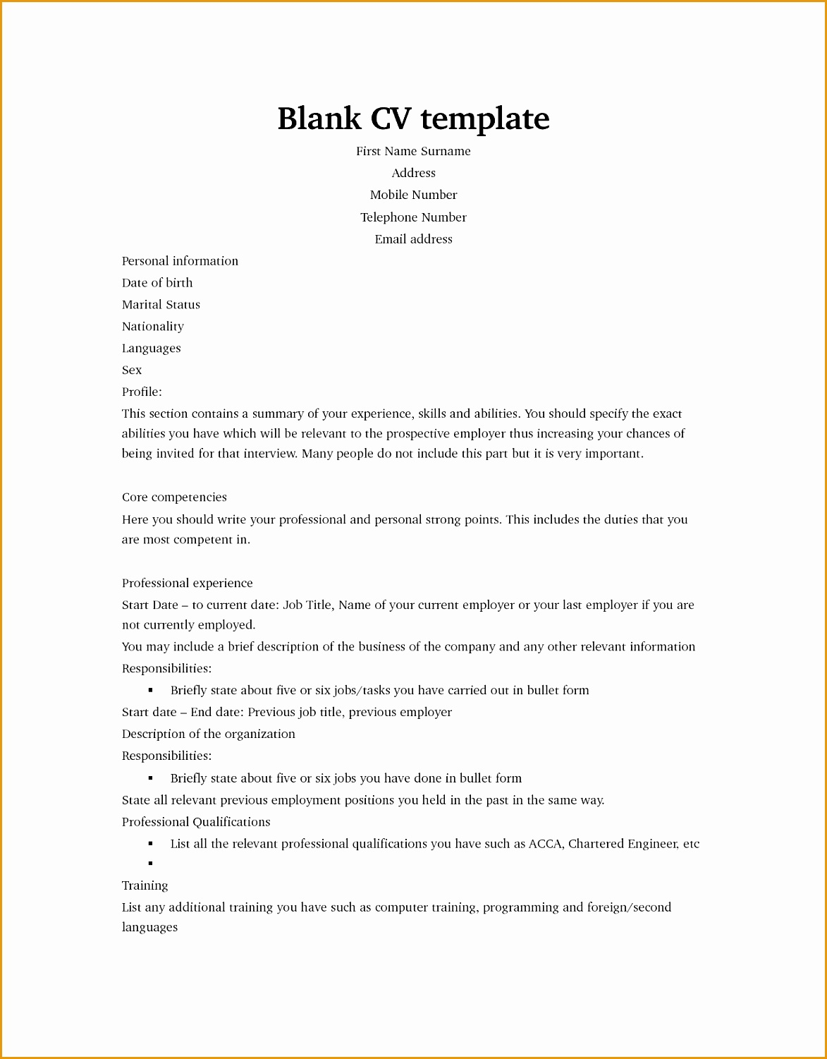 Blank Resume Format Download 7 Blank Resume Template Download Free Samples Examples