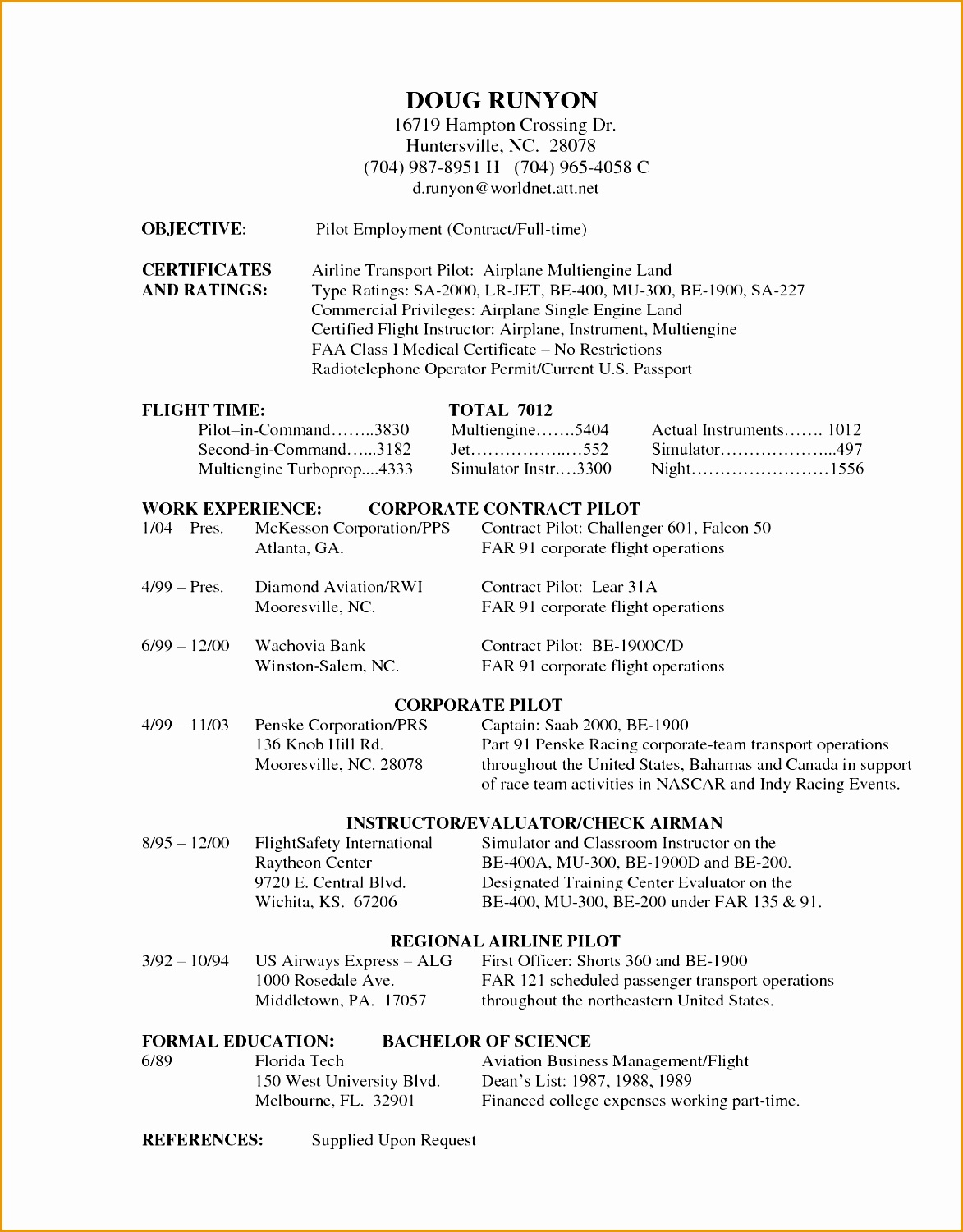Resume Proofreading 5 Commercial Airlines Pilot Resume Free Samples