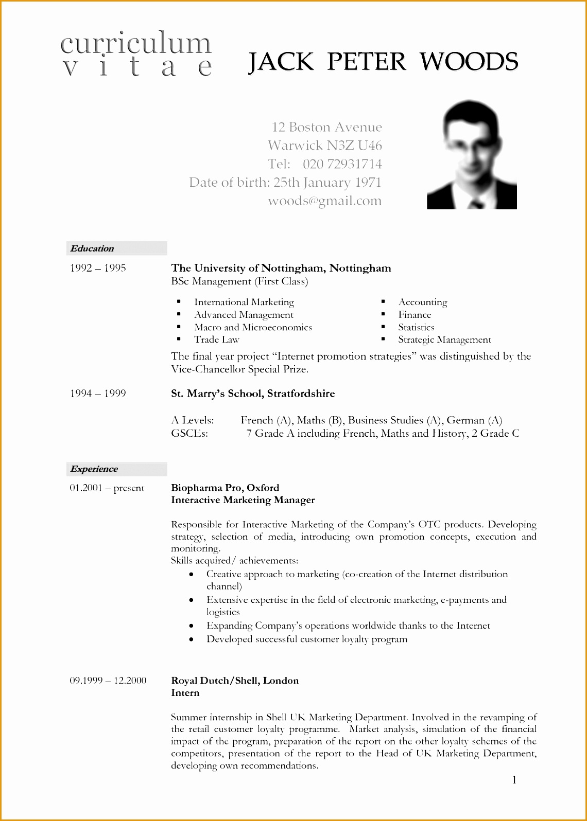 Cv Template South Africa Resumes 6 Cv Template In South Africa Free Samples Examples