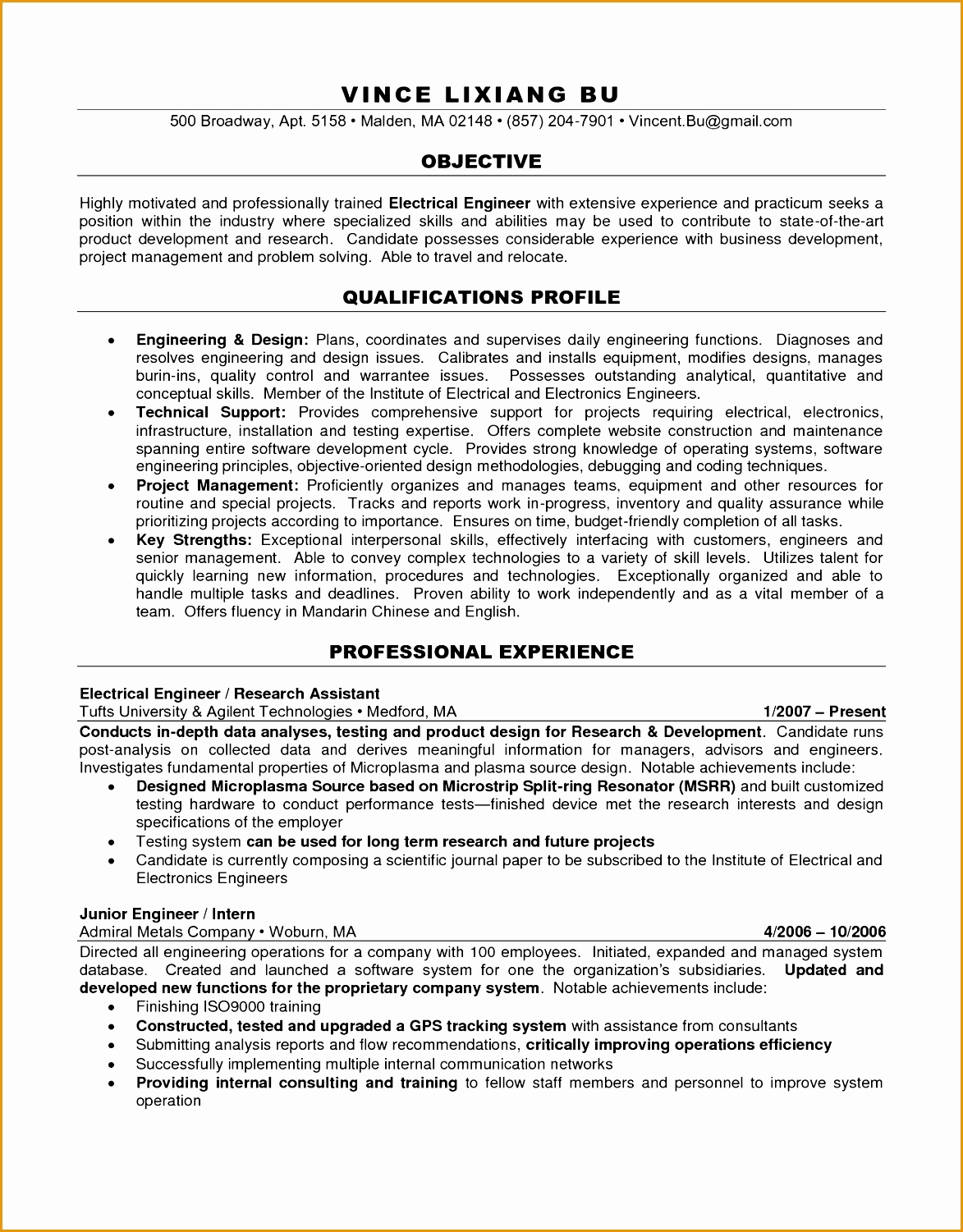 Sample Engineering Resume 7 Engineering Resume Objectives Sample Free Samples