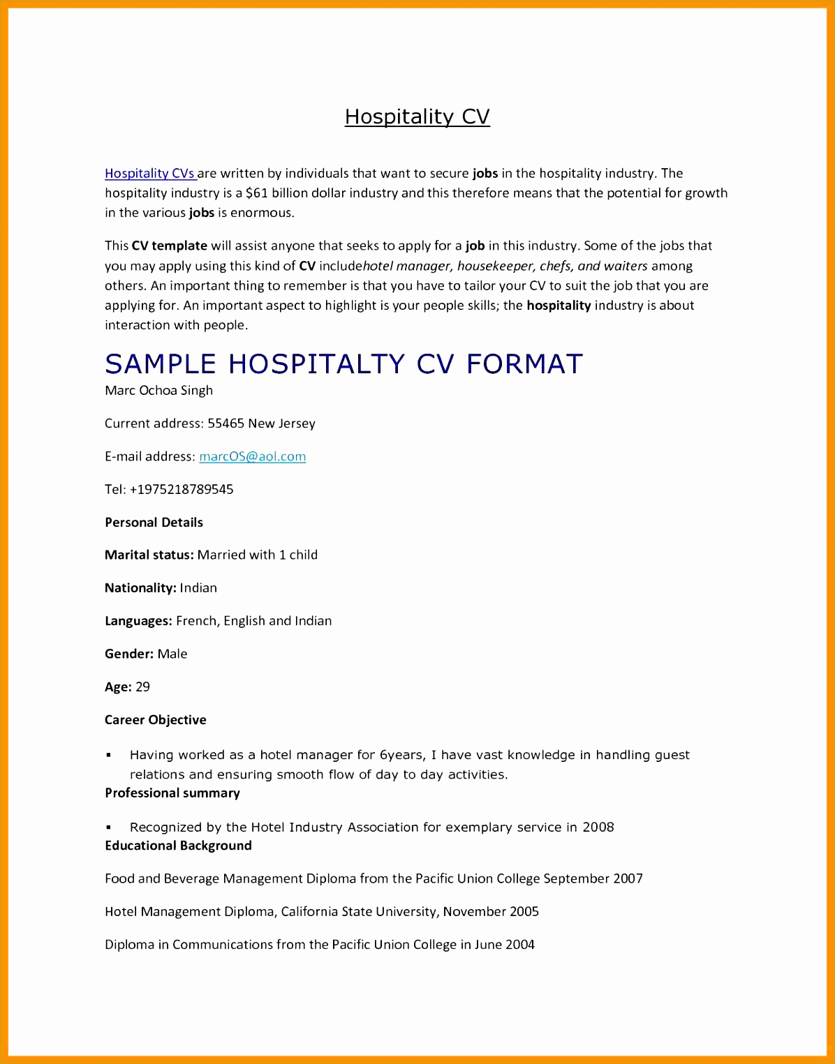 Management Resume Samples Free 6 Hospitality Curriculum Vitae Free Samples Examples