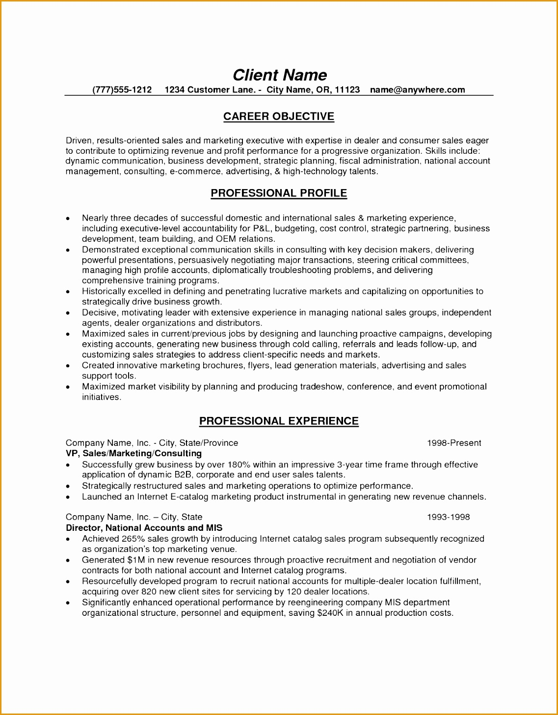 Sample Resume Format For Sales Executive 5 Marketing Operations Executive Resume Free Samples