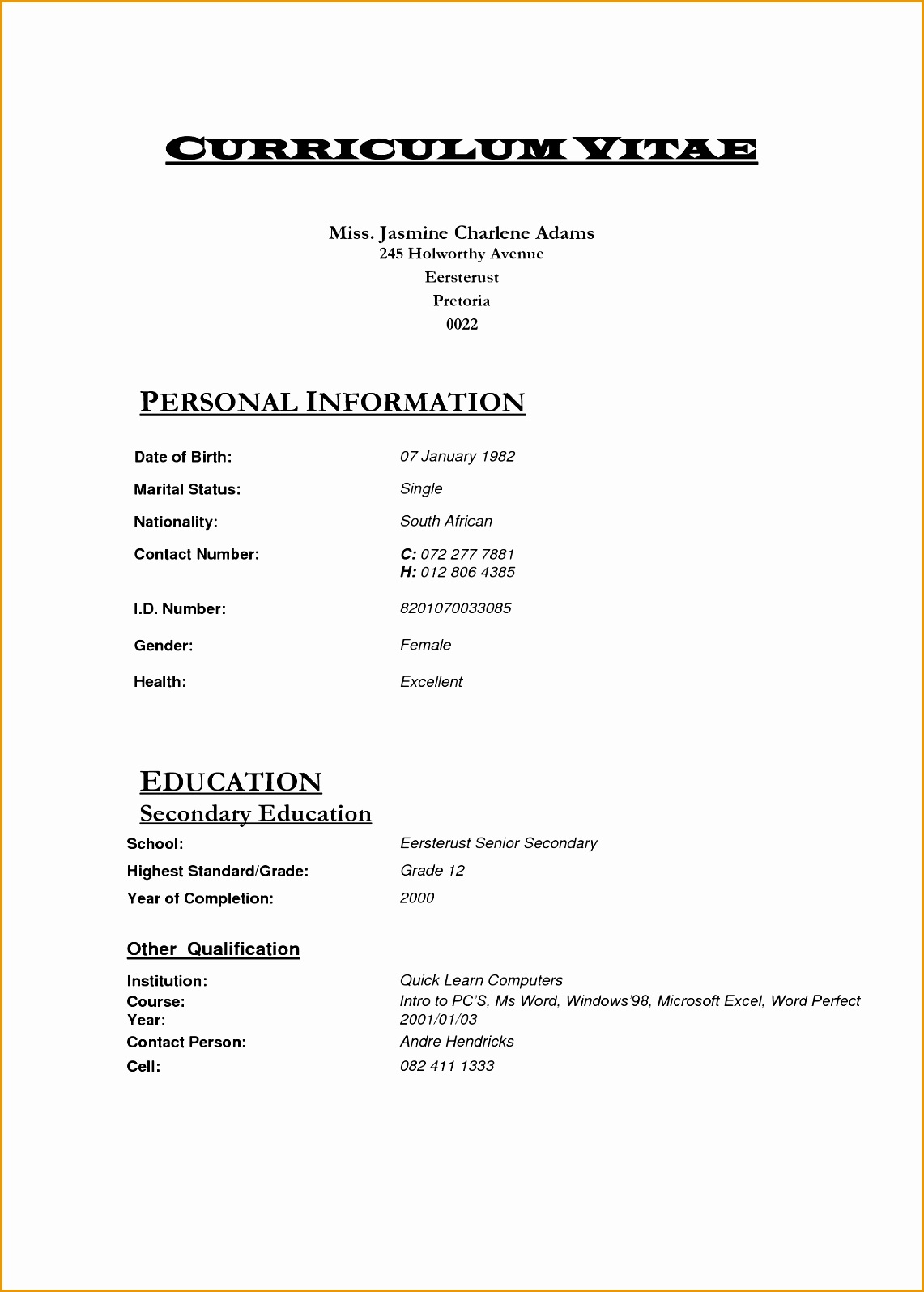 Resume And Cv Templates 5 Nursing Curriculum Vitae Templates Free Samples