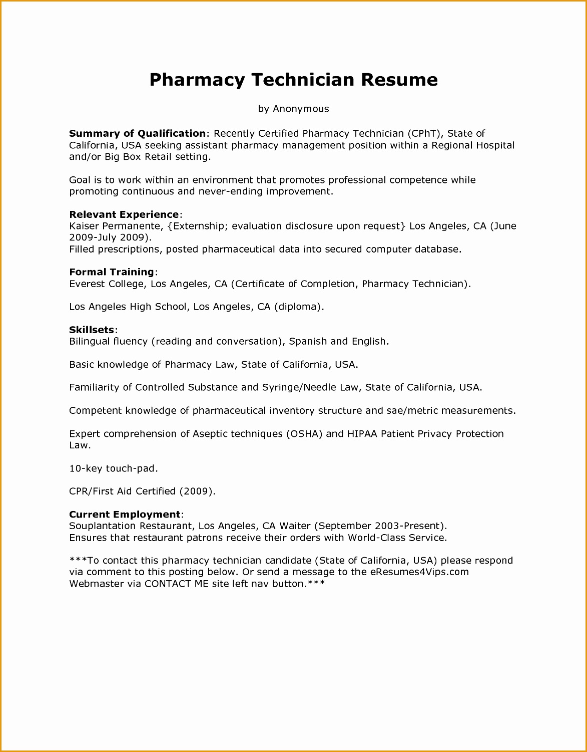 Pharmacist Resume Template 7 Pharmacist Curriculum Vitae Templates Free Samples
