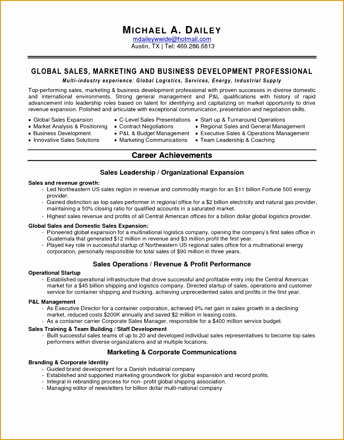 Resume Template For Marketing 6 Sales Marketing Resume Sample Free Samples Examples