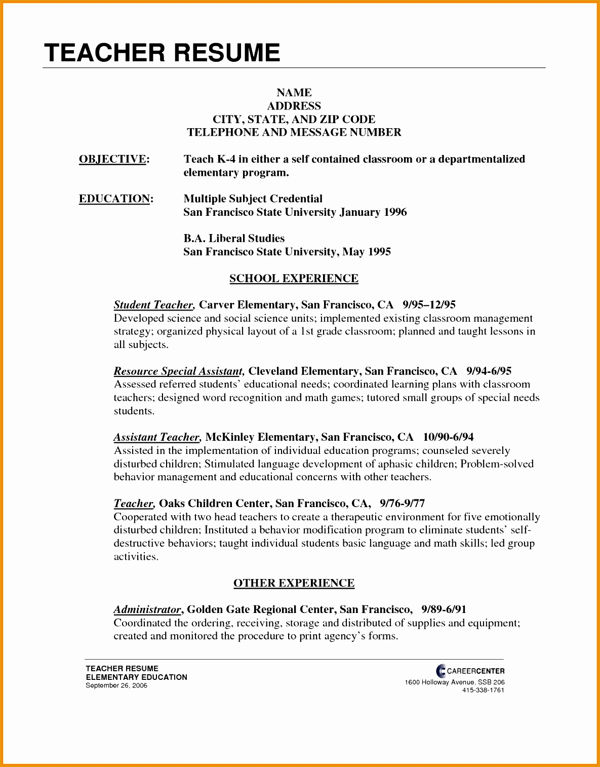 Writing An Objective For Resume 6 Elementary Teacher Resume Example Free Samples